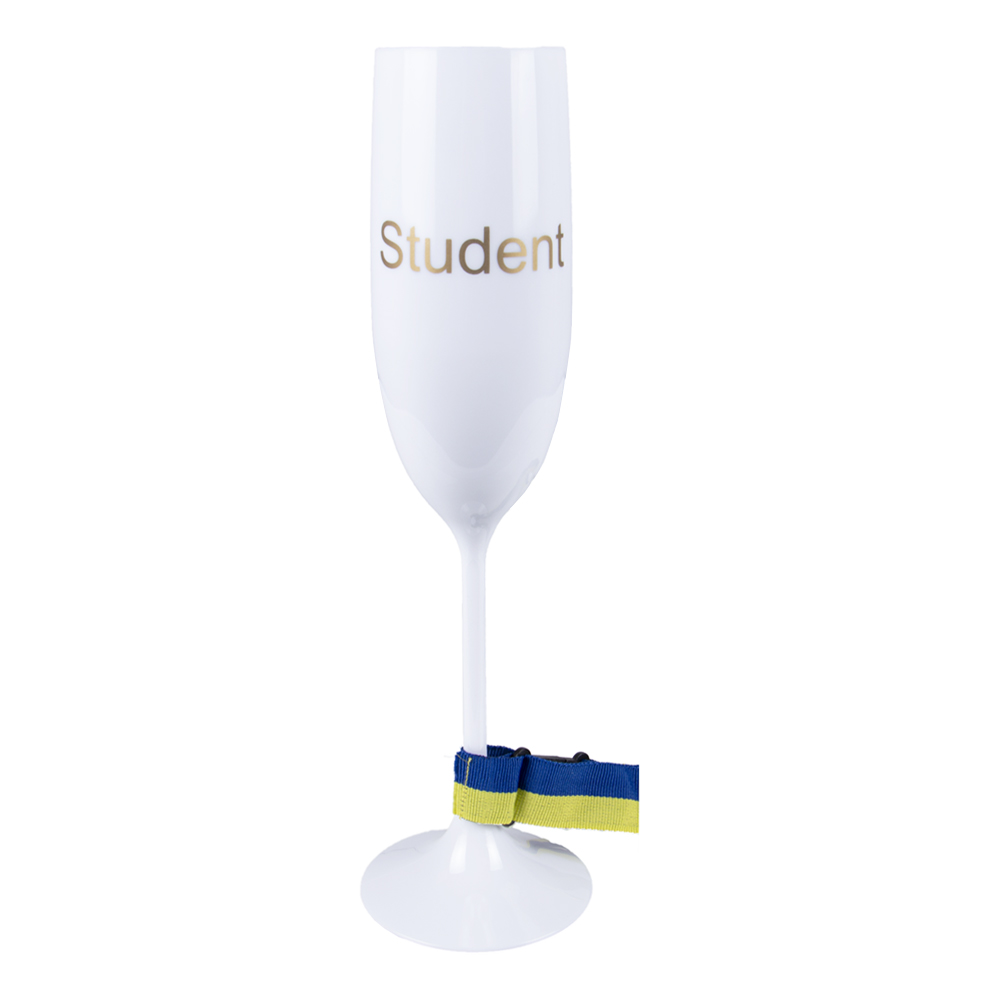 Champagneglas Student med Band